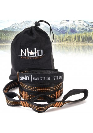 Nature's Hangout HangTight Hammock Tree Straps Set. Heavy Duty Extra Long Lightweight Suspension Kit. Adjustable 10