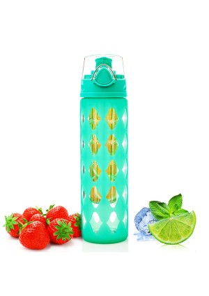 Gutta Vita All-in-1 20 oz Glass Water Bottle Fruit Infuser with Silicone Sleeve - Perfect as Yoga Water Bottl