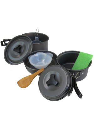 ??FREE BONUS GIFT?? Rough It ? 10-Piece Camping Cookware Set ?Stackable, Light-Weight, and Non-Stick Outdoor Cooking Set Ideal for Hiking or Backpacking. Includes Frying Pan, 2 Camping Pots, 3 Bowls, Mesh Carrying Case, and Cooking and Cleaning Accessorie