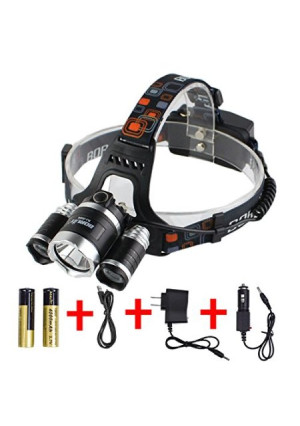 Boruit Rechargeable Waterproof LED Headlamp Flashlight Head Lamp with 3*L2 Cree