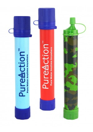 PureAction Camping Water Filter - 50% More Filtration Capacity Than Lifestraw - The Best Purification at 0.01