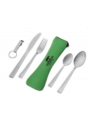 Tapirus Camping Eating Utensils To Go   Durable Stainless Steel Lightweight Construction Flatware   Travel Mess Cutlery Kit With Spoon, Teaspoon, Knife, Fork and Bottle Opener   Comes In A Carrying Case