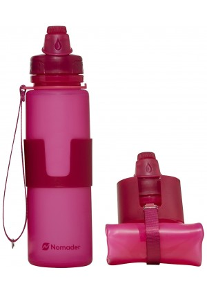 Nomader Collapsible Water Bottle - Leak Proof Twist Cap - BPA Free, 22 Ounce