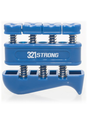 321 STRONG Finger Strengthener and Hand Exerciser for Guitar, Piano, or Therapy, Blue