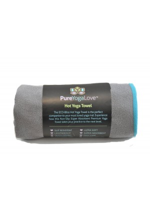 """Hot Yoga Towel (24""""X 72"""") by Pure Yoga Love – Super Absorbent, Anti- Slip, Eco-Quick Dry And Durable, Improve Mat Grip Works For Bikram, Ashtanga And All Types Of Yoga"""