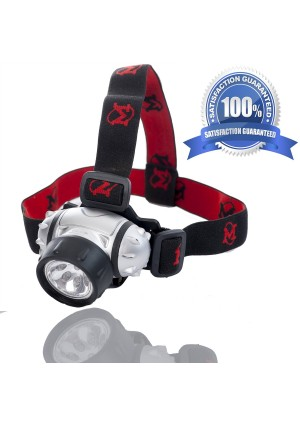 LED Hands-free Headlamp By Mhil(TM) Battery Powered Flashlight / Headlight Great for Camping, Hiking, Working in the Dark, Using Without Hands Adjustable 3-way Light and Adjustable Head Strap