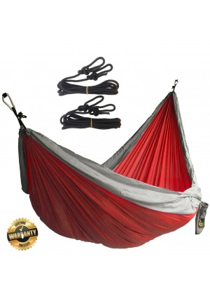 GOLDEN EAGLE OPENING SALE 40% OFF Camping Parachute Silk Hammock For Two. FREE Ropes and Carabiners. SWISS Desi