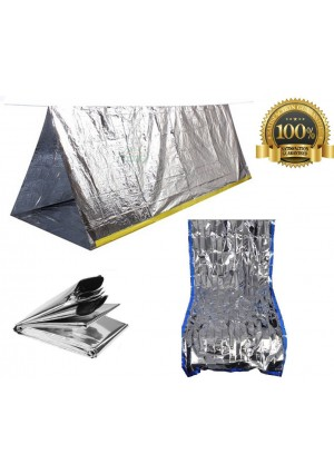 Sportsman Industries Sportsman Emergency Tent and Sleeping Bag Kit. This High Quality Mylar Reflective Thermal Shelter