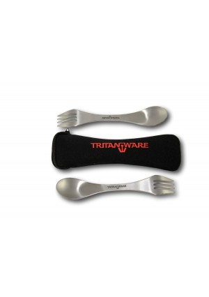 TRITANWARE Spork- Mini Titanium Spork- Spork Case- Camping Flatware- Dual Spoon Fork with Serrated Edge on Fo