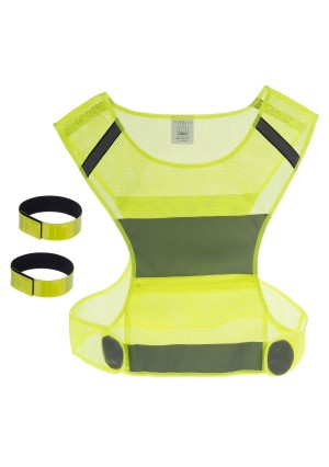All Star Active Reflective Vest and 2 Bands - for Running or Cycling, Women and Men, with Zip Pocket, Ideal High V