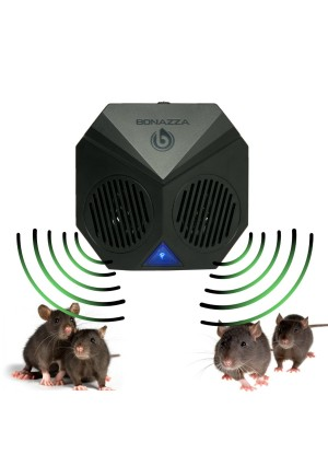 BONAZZA Mice Repellent Plug-in Ultrasonic Pest Repeller Best For Garages, Attics and Basements - Electronic Pests Control Products To Get Rid Of Bugs Insects and Rodent - Mouse and Rat Repellent