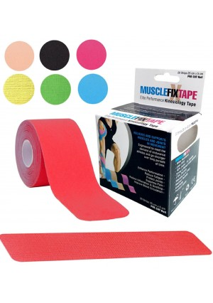 MUSCLE FIX Kinesiology Recovery Sports Athletic Injury Therapeutic Support Precut Strips Tape Roll (20 Strips 10 in X 2 In / 25 cm x 5 cm)