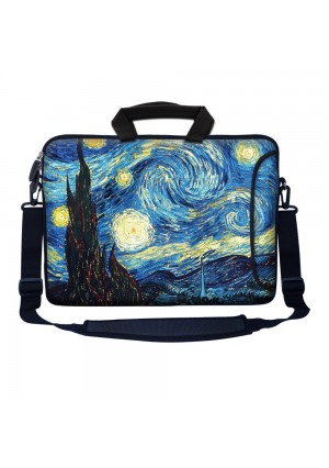 """Meffort Inc 15 15.6 inch Neoprene Laptop Bag Sleeve with Extra Side Pocket, Soft Carrying Handle and Removable Shoulder Strap for 14"""" to 15.6"""" Size Notebook Computer - The Starry Night"""