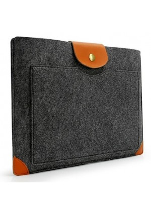 Lavievert Handmade Gray Felt Case Leather Corner Bag Sleeve with Leather Flap Magnetic Button for