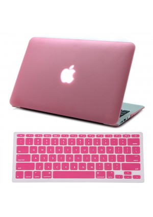 """HDE Macbook Air 11 Case Hard Shell Cover Solid Matte + Keyboard Skin for Apple Mac Air 11.6"""" fits Model A1370 / A1465 (Pink)"""