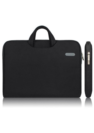 Arvok 13 13.3 14 Inch Water-resistant Canvas Fabric Laptop Sleeve With Handle and Zipper Pocket/Notebook Computer Case/Ultrabook Tablet Briefcase Carrying Bag For Acer/Asus/Dell/Lenovo/HP/Samsung, Black