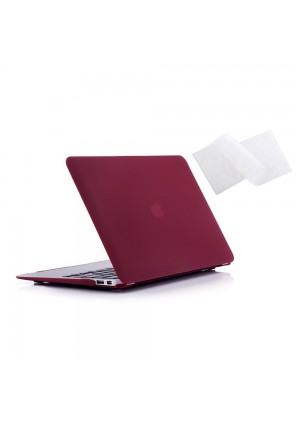 """Ruban - Air 11-inch 2 in 1 Soft-Touch Hard Case Cover and Keyboard Cover for Macbook Air 11.6"""" Models: A1370 / A1465 - Wine Red"""