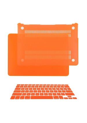 """TOP CASE - 2 in 1 Bundle Deal Air 13-Inch Rubberized Hard Case Cover and Matching Color Keyboard Cover for Macbook Air 13"""" (A1369 and A1466) with TopCase Mouse Pad - Orange"""