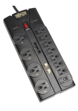 Tripp Lite 12 Outlet Surge Protector Power Strip Tel/Modem/Coax/Ethernet 8ft Cord Right Angle Plug (TLP1208SAT)