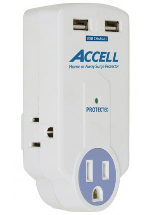 Accell D080B-010K 3-Outlet Travel Surge Protector with Dual USB Charging Ports - 612 Joules, 2.1A USB Output, Folding Plug, White, ETL Listed