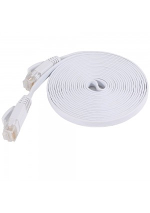 Fosmon Technology Fosmon (10 Feet - White) RJ45 CAT6 Snagless Ethernet Patch Cable [FLAT Tangle Free] - Ultra Speed