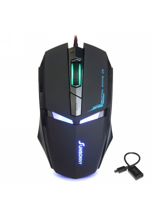 Qisan(TM) USB Wired 1600 DPI Adjustable LED Cool Gaming Mouse(Black) w/ Qisan Micro USB USB 2.0 Host OTG Cable Adapter Compatible with All Android Devices