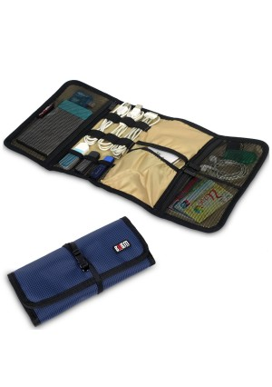 BUBM Portable Universal Wrap Electronics Accessories Travel Organizer / Hard Drive Bag / Cable Stable/ Baby Healthcare Kit (Dark Blue)