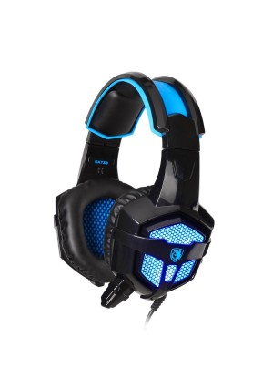 Gaming Headphones,Sades SA-738 3.5mm USB Plug Lightweight Over Ear PC Headset with Microphone PU Ear-pad for Gamers Laptop PC MAC Laptop Retail-Box Packaging by AFUNTA--Black/Blue