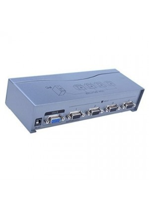 DTECH Powered 1 In 4 Out VGA Video Splitter Distribution Amplifier 500MHz Supports High Resolution up to 2048x1536