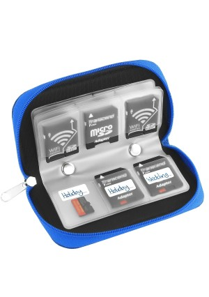 Simtyso Micro SD Memory Card Carrying Case in Blue Color