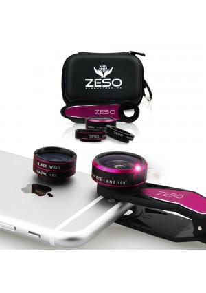 ZESO LENS 3 in 1 Camera Lens Kit with 198 Degree Fisheye Lens, 15x Macro Lens and 0.63x Wide Angle Lens for iPhone and iPad - Hot Pink