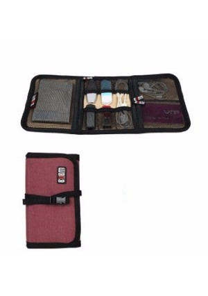 BUBM Durable Waterproof Wrap Electronics Accessories Travel Organizer /USB Hard Drive Bag/Cable Stable/ Baby Healthcare Kit(Medium-Red)