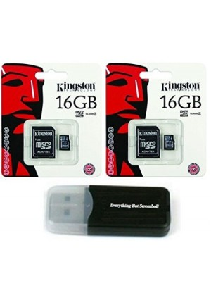 Kingston Technology 2 Pack of Kingston 16GB MicroSD HC Class 4 TF MicroSDHC with SD Adapter TransFlash Memory Card SDC