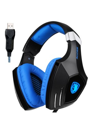 SADES Computer Gaming Headset PC Gaming Headphones USB Stereo Vibration with Microphone Noise Canceling Volume Control LED Light for PC Computer Laptop Mac Gamer(Black Blue)