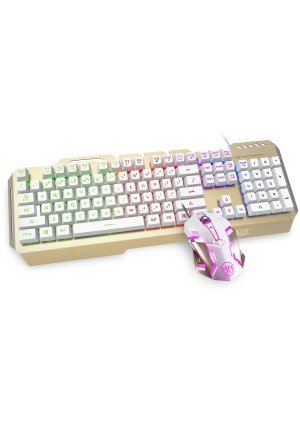 HIRALIY X11 Aluminum Panel Rainbow Wired Backlit Membrane Gaming Keyboard and Gaming Mouse Combo S
