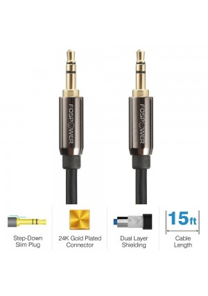 FosPower [15ft] 3.5mm Male to 3.5mm Male [AUX] Stereo Audio Cable - Step Down Design Auxiliary Cable for iPhone, iPod, Android Smartphones, Tablets, MP3 Players and More (15 feet)