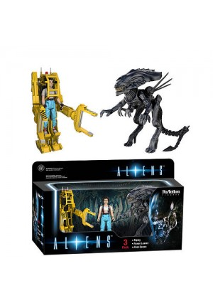 Funko Aliens 3 Pack 3.75 inch Scale Reaction Figure - Ripley, Power Loader and Alien Queen