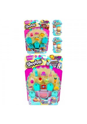 Shopkins Season 3 Bundle - 1 12pack, 1 5 Pack, and 2 Baskets