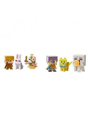 Mattel Minecraft Mini Figure 3-Pack - Alex with Gold Armor, Killer Rabbit, and Spawning Zombie Pigman