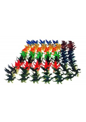 "Toy Essentials 100 Pcs Plastic Fire Breathing Mini Dragons 2.5"" - 3"""