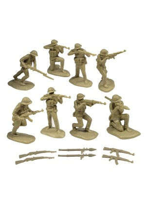 Toy Soldiers of San Diego TSSD Vietnam NORTH VIETNAMESE ARMY: 16 Khaki 1:32 Plastic Army Men Figures