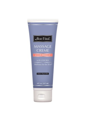 Bon Vital' Deep Tissue Massage Crème, Professional Massage Therapy Cream for Muscle Relaxation, Muscle Soreness, Injury Recovery, Deep Muscle Manipulation, and Sports Massages, 8 Ounce Tube