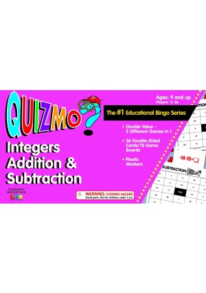 Learning Advantage 8234 QUIZMO Integers Addition and Subtraction Card