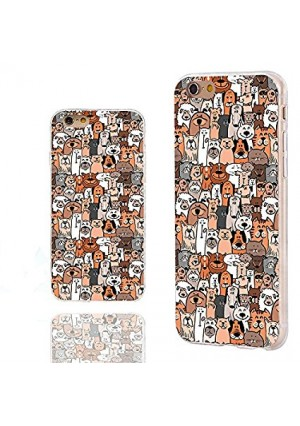 iPhone 6s Case,iPhone 6 Case,ChiChiC [ Cute Series] Full Protective Art Stylish Slim Flexible Durable Soft TPU Cover Cases for iPhone 6 6s 4.7 Inch,cute animal doodle brown dogs and cats smile pet