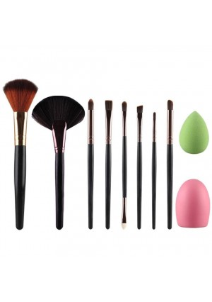 DaySeventh New Arrival 10pcs Makeup Brush Makeup Sponge Makeup Brush Cleaner Foundation Brush Cosmetic Set