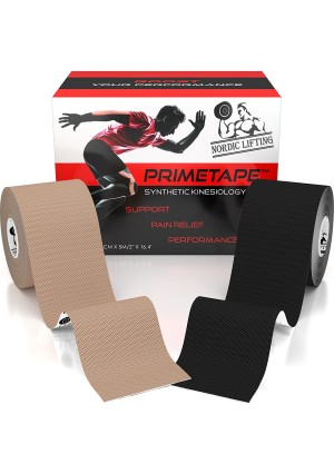 """Kinesiology Tape (2-Pack) PrimeTape - Pro Sports and Athletic Taping for Knee, Shin Splints, Shoulder and Muscle - 2""""  X 16.4' per Roll Uncut - Orthopedic Therapy Method - by Nordic Lifting™"""