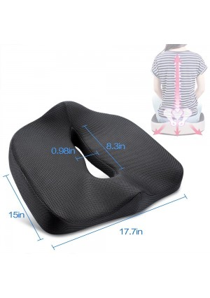 Orthopedic Coccyx Memory Foam Seat Cushion to Help Sciatica,Lower Back and Tailbone Pain Relief,Comfortable Wedge Support Pillow Great as an Office Chair Cushion,Car Seat Pad,Wheelchair Cushion Black