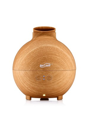 Housmile (600ml ,Wood Grain) Essential Oil Diffusers Ultrasonic High Capacity Globe Cool Mist Humidifiers for Home Office Spa Yoga Bedroom Living Room
