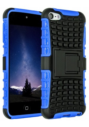 iPod Touch 6 Case,iPod Touch 5 Case, SLMY(TM) Heavy Duty Dual Layer Shockproof / Impact Resistance Hybrid Rugged Cover Case with Built-in Kickstand for Apple iPod Touch 5 6th Generation Blue