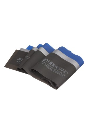 TheraBand Professional Non-Latex Resistance Bands For Physical Therapy, Portable Fitness, Home Workouts, Lower Pilates, Upper/Lower Body and Toning Exercises, Blue and Black and Silver, Advanced Set